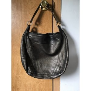 Banana Republic bronze metallic leather bag